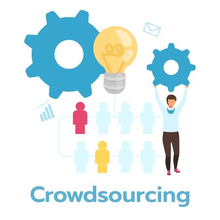 Crowdsourcing flat vector illustration. Job organization. Gathering of information. Business model. Multiple contributors. Company strategy. Headhunting. Isolated cartoon character on white