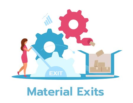 Manufacturer business model flat vector illustration. Manufacturing concept. Businesswoman controlling production process. Isolated cartoon character on white background Standard-Bild - 133542790