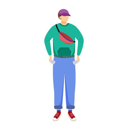Student without pocket money flat vector illustration. Young person doesnt have cash. Poor youth. Broke man. Unemployed youth issues isolated cartoon character on white background