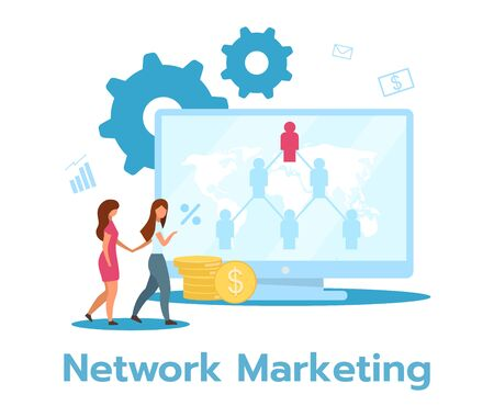 Network marketing flat vector illustration. Pyramid selling. Product, services sale. Multi-level, two-tier marketing. Business model. Isolated cartoon character on white background Vettoriali