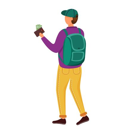 Student with money in wallet flat vector illustration. Young person earns his own salary. Man with cash to spend on travelling. Jobs options for youth isolated cartoon character on white background Illustration