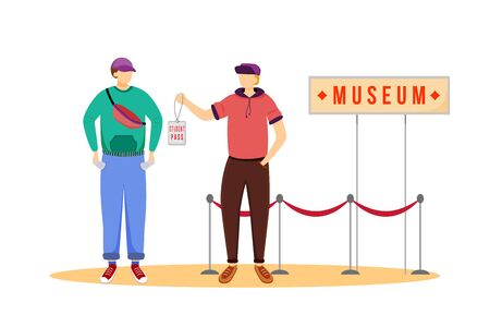 Student pass for museums flat vector illustration. Cheap travelling ideas. Discount for students. Free entrance for youth. Budget tourism isolated cartoon character on white background 向量圖像