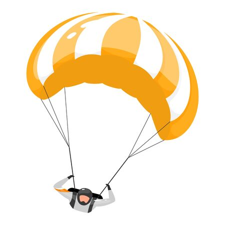Parachuting flat vector illustration. Skydiving experience. Extreme sports. Active lifestyle. Outdoor activities. Sportsman, parachutist isolated cartoon character on white background