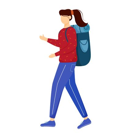 Girl tourist with backpack flat vector illustration. Camping and hiking. Budget tourism. Cheap travelling ideas for students, youth isolated cartoon outline character on white background