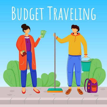 Budget travelling social media post mockup. Working as cleaner. Advertising web banner design template. Social media booster, content layout. Promotion poster, print ads with flat illustrations Ilustração