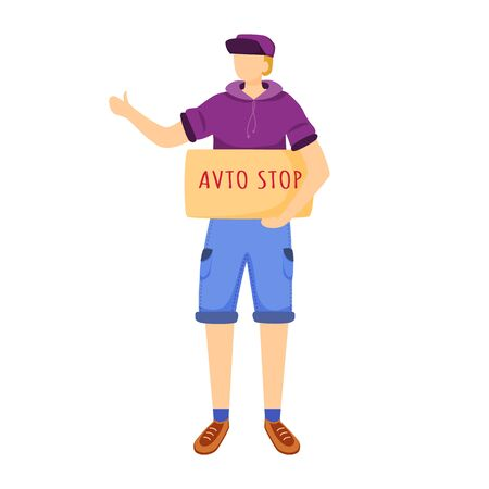 Hitchhiking experience flat vector illustration. Trip ideas for youth. Budget tourism. Boy waits for car. Cheap travelling ideas for students isolated cartoon character on white background