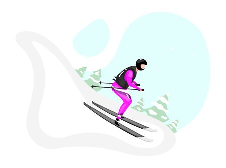 Downhill skiing flat vector illustration. Extreme winter sports. Active lifestyle. Outdoor activities on snowy mountainside. Sportsman on skis isolated cartoon character on blue background