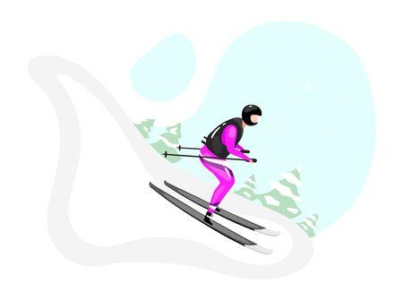 Illustration vectorielle plane de ski alpin. Sports d'hiver extrêmes. Mode de vie actif. Activités de plein air à flanc de montagne enneigée. Sportif sur skis personnage de dessin animé isolé sur fond bleu