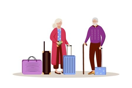 Elderly couple with luggage flat vector illustration. Getting ready for a trip. Married couple with suitcases. Going on vacation. Voyage preparation isolated cartoon character on white background