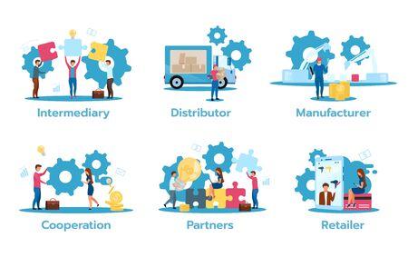 Business model flat vector illustrations set. Intermediary. Distributor. Manufacturer. Cooperation. Partners. Retailer. Trading strategies. Isolated cartoon characters Standard-Bild - 133542941