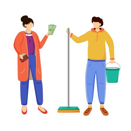 Earning money for travelling flat vector illustration. Getting ready for a trip. Working as cleaner. Work for student, youth. Voyage preparation isolated cartoon character on white background 向量圖像