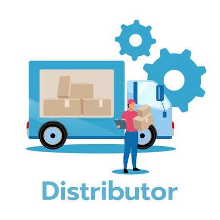 Distributor flat vector illustration. Producer, service provider. Business model. Strategic planning. Distribution of products and services. Delivery truck. Isolated cartoon character on white Standard-Bild - 133542948