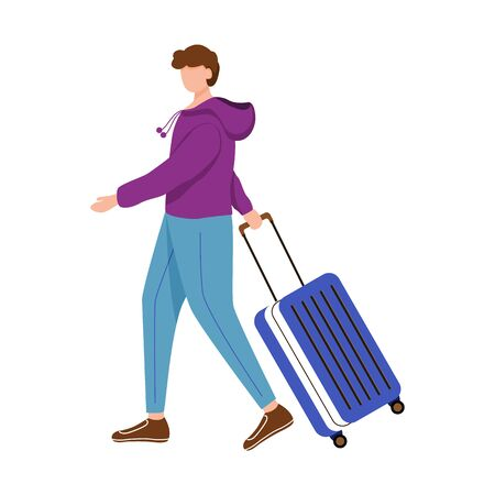 Boy tourist with suitcase flat vector illustration. Man going on trip. Getting ready for journey. Budget tourism. Travelling abroad isolated cartoon outline character on white background