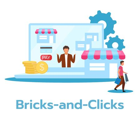Bricks-and-clicks flat vector illustration. Combination of online and offline trade. Traditional and electronic selling. Marketing strategy. Business model. Isolated cartoon character on white