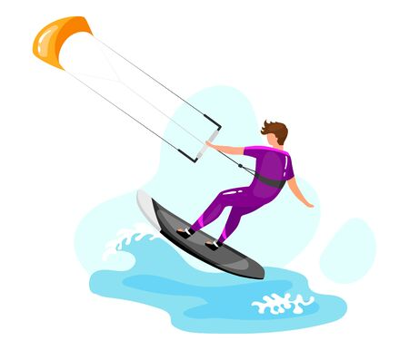 Kitesurfing flat vector illustration. Extreme sports experience. Active lifestyle. Summer vacation outdoor activities. Ocean turquoise waves. Sportsman isolated cartoon character on blue background