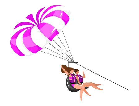 Parasailing flat vector illustration. Extreme sports experience. Active lifestyle. Summer vacation fun activities for couple. People on parachute isolated cartoon character on white background