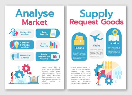 Analyse market brochure template. Supply request goods. Flyer, booklet, leaflet concept with flat illustrations. Vector page cartoon layout for magazine. advertising invitation with text space