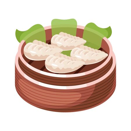 Chinese dim sum color icon. Asian small bite dish in basket. Eastern traditional cuisine. Steamed pies with different fillings. Dumpling with meat, vegetables, spices. Isolated vector illustration