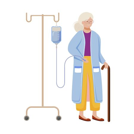 Old lady with medical infusion flat vector illustration. Aged woman with walking cane, hospital patient isolated cartoon character on white background. Healthcare industry, nursing home design element Ilustrace