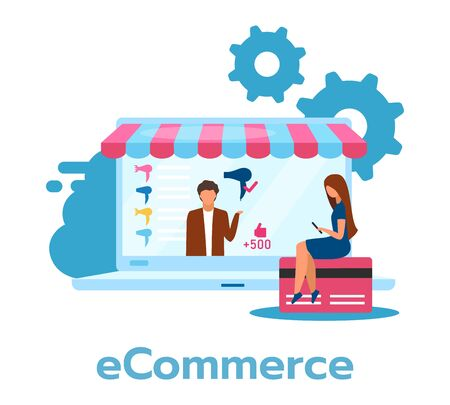 E-commerce flat vector illustration. Buying, selling products through Internet. Money, fund transaction. Online retailing. Eletronic shop, store. Business model. Isolated cartoon character on white