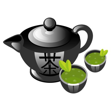 Chinese tea ceremony color icon. Teapot with cups. Asian green tea. Hot drink in porcelain teaware. Teahouse atmosphere. Chinese traditions and culture. Isolated vector illustration
