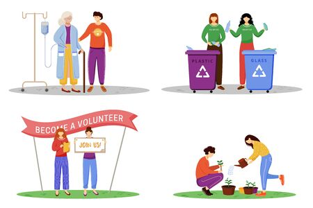 Voluntary works flat vector illustrations set. Young philanthropists, activists isolated cartoon characters. Elderly nursing, waste management, public volunteers agitation and trees planting Ilustrace
