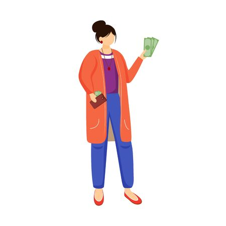 Woman with money flat vector illustration. Rich person. Employer gives salary. Getting paid for work. Female holds dollars. Girl with cash isolated cartoon character on white background Ilustracja