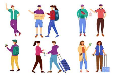Budget tourism flat vector illustrations set. Getting ready for trip. Illusztráció
