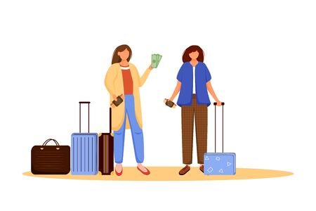 Girls pack luggage flat vector illustration. Getting ready for trip, voyage. Friends with suitcases. Going on vacation. Voyage preparation isolated cartoon character on white background
