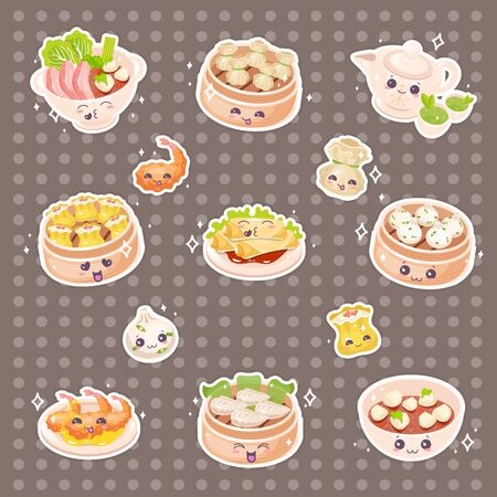 Chinese dim sum cute kawaii vector characters set. Asian traditional dishes with smiling faces. Eastern cuisine. Dumplings with vegetables. Funny emoji, emoticon. Isolated cartoon color illustration