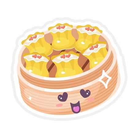 Chinese dim sum cute kawaii vector characters set. Asian dish with smiling face. Eastern traditional cuisine. Dumpling with caviar. Funny emoji, emoticon. Isolated cartoon color illustration Ilustracja