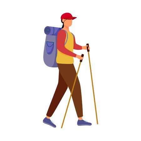 Girl with hiking sticks flat vector illustration. Camping activity. Cheap travelling choice. Active vacation. Budget tourism. Walking tour isolated cartoon character on white background