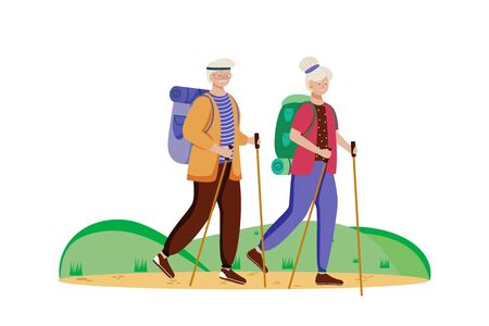 Budget tourism flat vector illustration. Hiking activity. Cheap travelling choice. Active vacation. Elderly couple on a mountain trip. Walking tour isolated cartoon character on white background