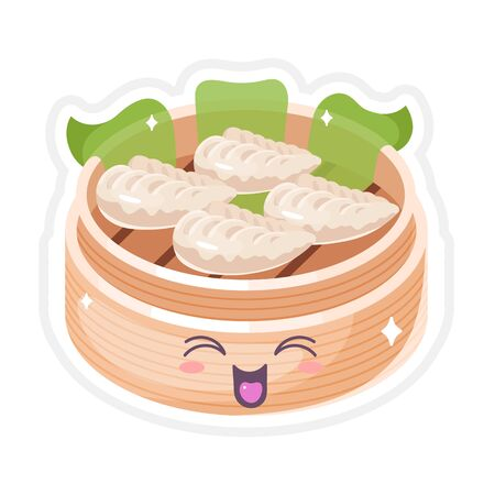 Chinese dim sum cute kawaii vector character. Asian traditional dish with smiling face. Eastern cuisine. Dumplings with spices. Funny emoji, emoticon. Isolated cartoon color illustration