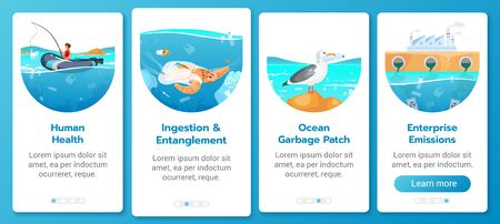 Plastic pollution in ocean problem onboarding mobile app screen vector template. Sea contamination. Walkthrough website steps with flat characters. UX, UI, GUI smartphone cartoon interface concept Illustration