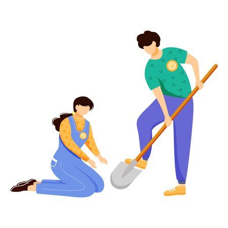 Volunteers working together flat vector illustration. Farmers couple, environmental activists isolated cartoon characters on white background. Nature preservation, ecology protection design element Illusztráció