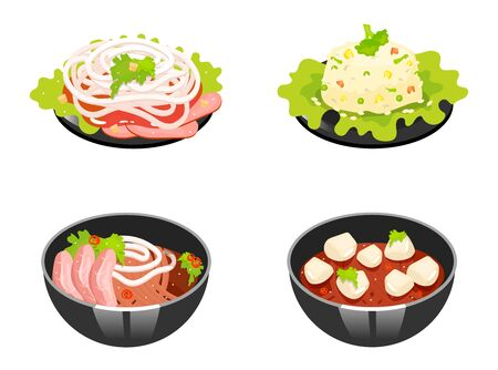 Chinese dishes color icons set. Tomato and woton noodles soup. Rice with vegetables. Eastern traditional cuisine. Meat chops with sauce and onion slices. Isolated vector illustrations Ilustracja