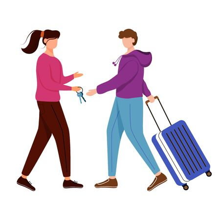 Lodging without charge. Girl gives keys to her guest. Budget tourism. Cheap travelling choice isolated cartoon outline character on white background Vettoriali
