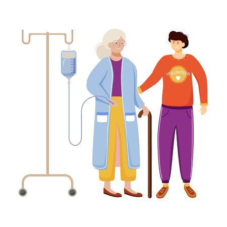 Elderly care flat vector illustration. Happy volunteer and old woman isolated cartoon characters on white background. Young son with aged mother. Family support, medical help work design element Ilustrace