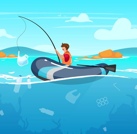 Person fishing in sea full of garbage flat vector illustration. Junk in water. Nature damage. Ecological catastrophe. Ocean pollution. Fisherman with plastic package on rod cartoon character