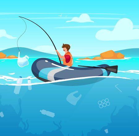 Persona que pesca en el mar lleno de basura ilustración vectorial plana. Basura en agua. Daño a la naturaleza. Catástrofe ecológica. Contaminación del océano. Pescador con paquete de plástico en personaje de dibujos animados de varilla