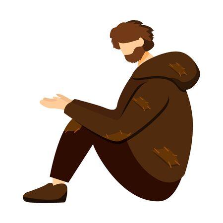 Poor beggar, miserable pauper flat vector illustration. Homeless man, street person isolated cartoon character on white background. Jobless vagrant, refugee asking for help. Poverty design element Illustration