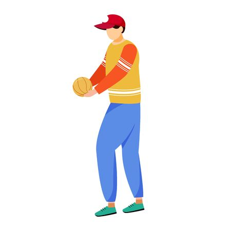 Adult man holding ball flat vector illustration. Sports team member, trainer, coach isolated cartoon character on white background. Active leisure, sport training, exercising design element Stock fotó - 133685175