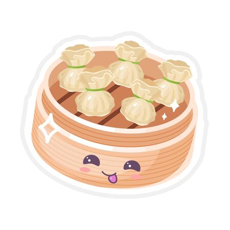 Chinese dim sum cute kawaii vector characters set. Asian dish with smiling face. Eastern traditional cuisine. Type of dumplings. Funny emoji, emoticon. Isolated cartoon color illustration