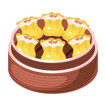 Chinese dim sum color icon. Asian small bite dish in basket. Eastern traditional cuisine. Steamed buns with caviar. Dumpling with meat, vegetables, spices. Isolated vector illustration