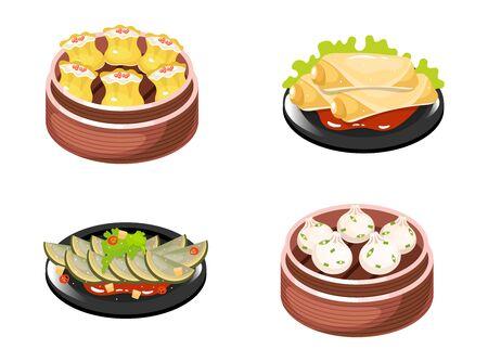Zestaw ikon kolor dania kuchni chińskiej. Rodzaje pierogów z nadzieniem mięsno-warzywnym. Sajgonki i sałatka jarzynowa. Tradycyjna kuchnia wschodnia. Kabaczek z sosem. Ilustracje wektorowe na białym tle