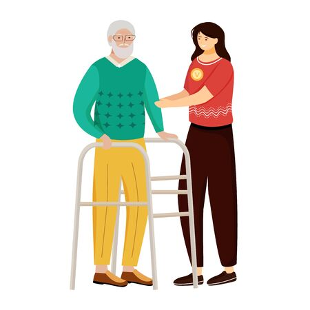 Elderly nursing flat vector illustration. Happy retiree and nurse isolated cartoon characters on white background. Young woman taking care of aged man. Family support, volunteer work design element