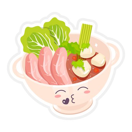 Chinese beef noodle soup cute kawaii vector character. Ramen bowl with kissing face. Asian traditional dish. Meat with vegetables. Funny emoji, emoticon. Isolated cartoon color illustration