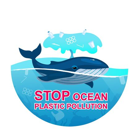 Stop plastic pollution in ocean flat concept icon. Whale and trash in sea water. Marine animal trapped in plastic garbage sticker, clipart. Isolated cartoon illustration on white background