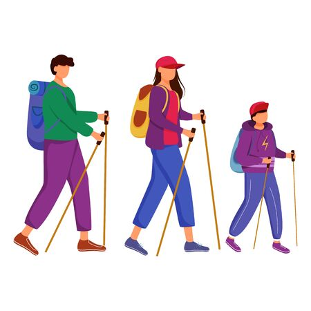 Family walking tour flat vector illustration. Hiking activity. Cheap travelling choice. Active vacation. Family on a mountain trip. Budget tourism isolated cartoon character on white background